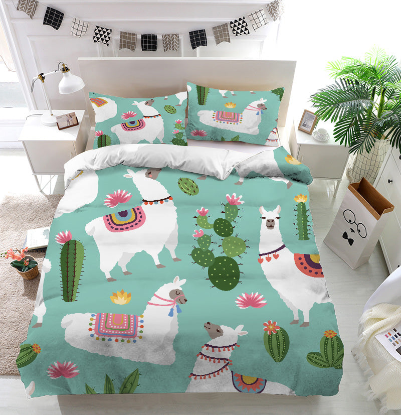 Alpaca llama and cactus Duvet Cover Bedding Set