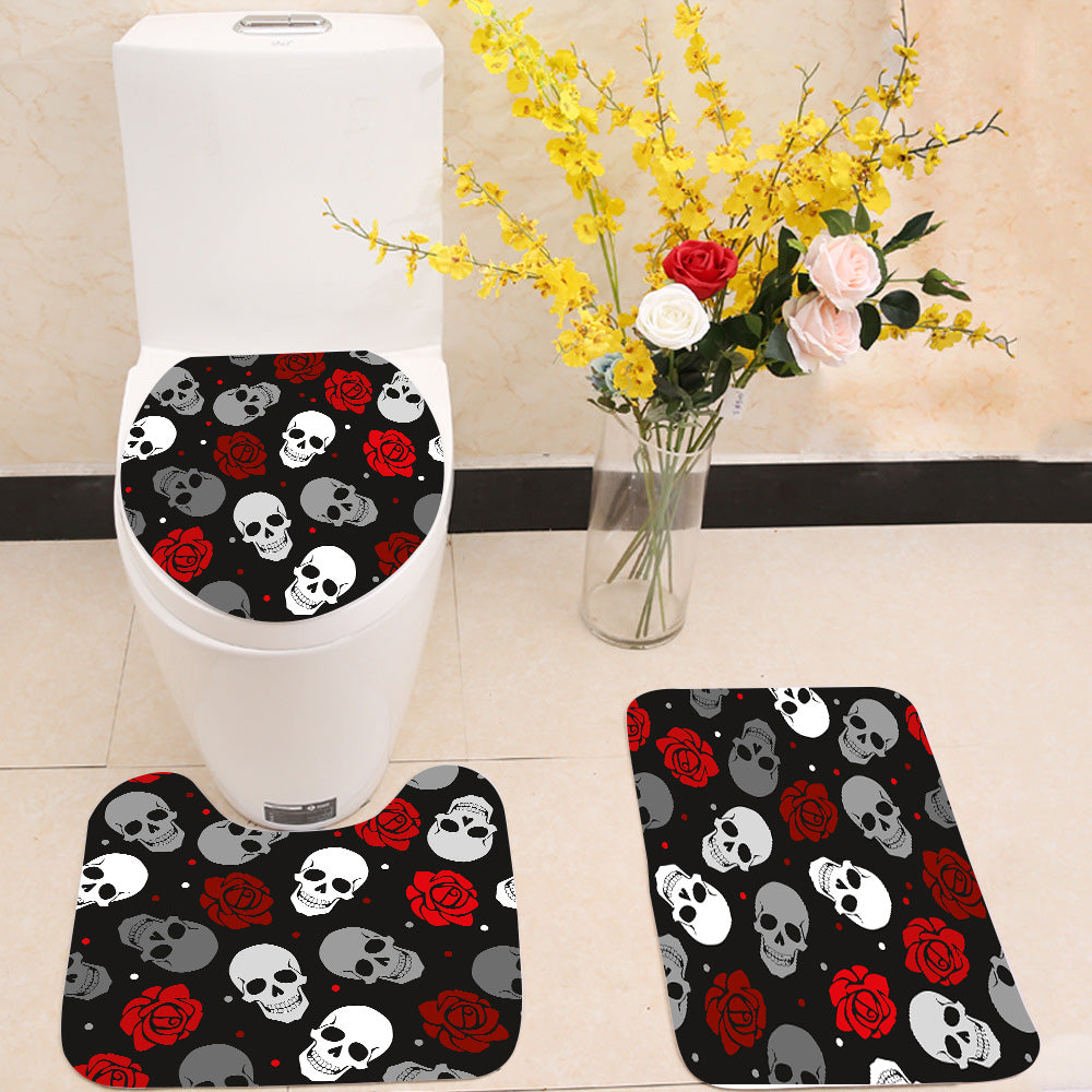 Skulls and roses pattern 3 Piece Toilet Cover Set
