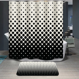 Circles halftone black and white pattern Shower Curtain