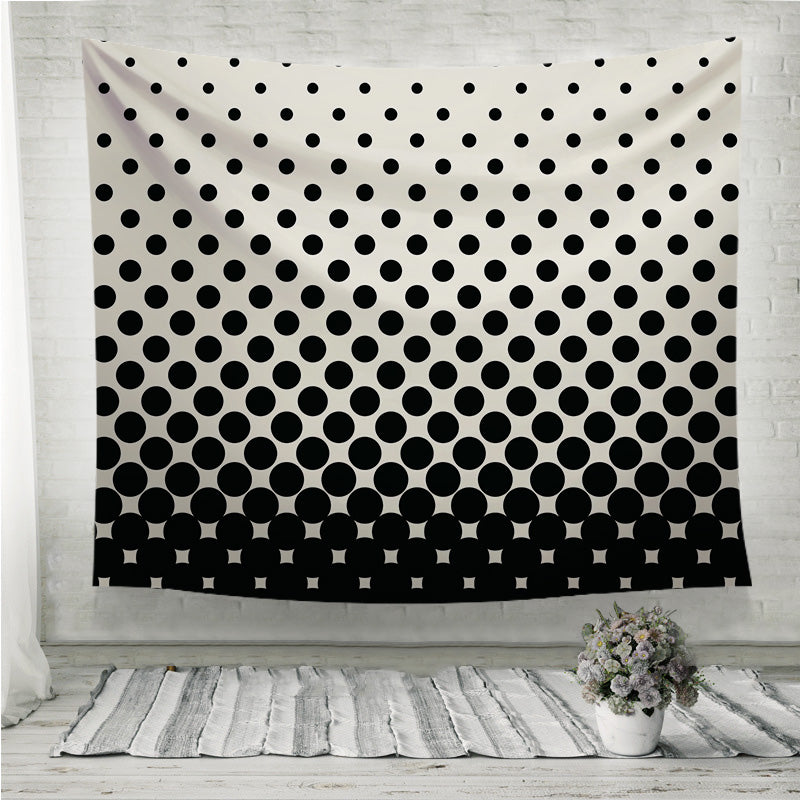 Circles halftone black and white pattern Wall Tapestry