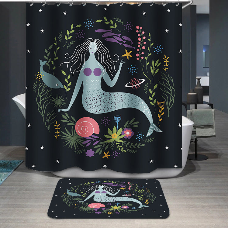 Mermaid among algae and fishes Shower Curtain