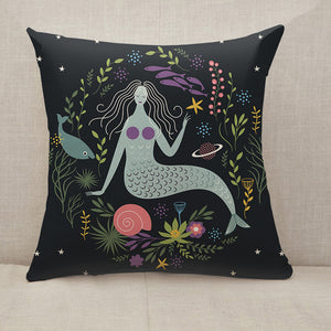 Mermaid among algae and fishes Throw Pillow [With Inserts]