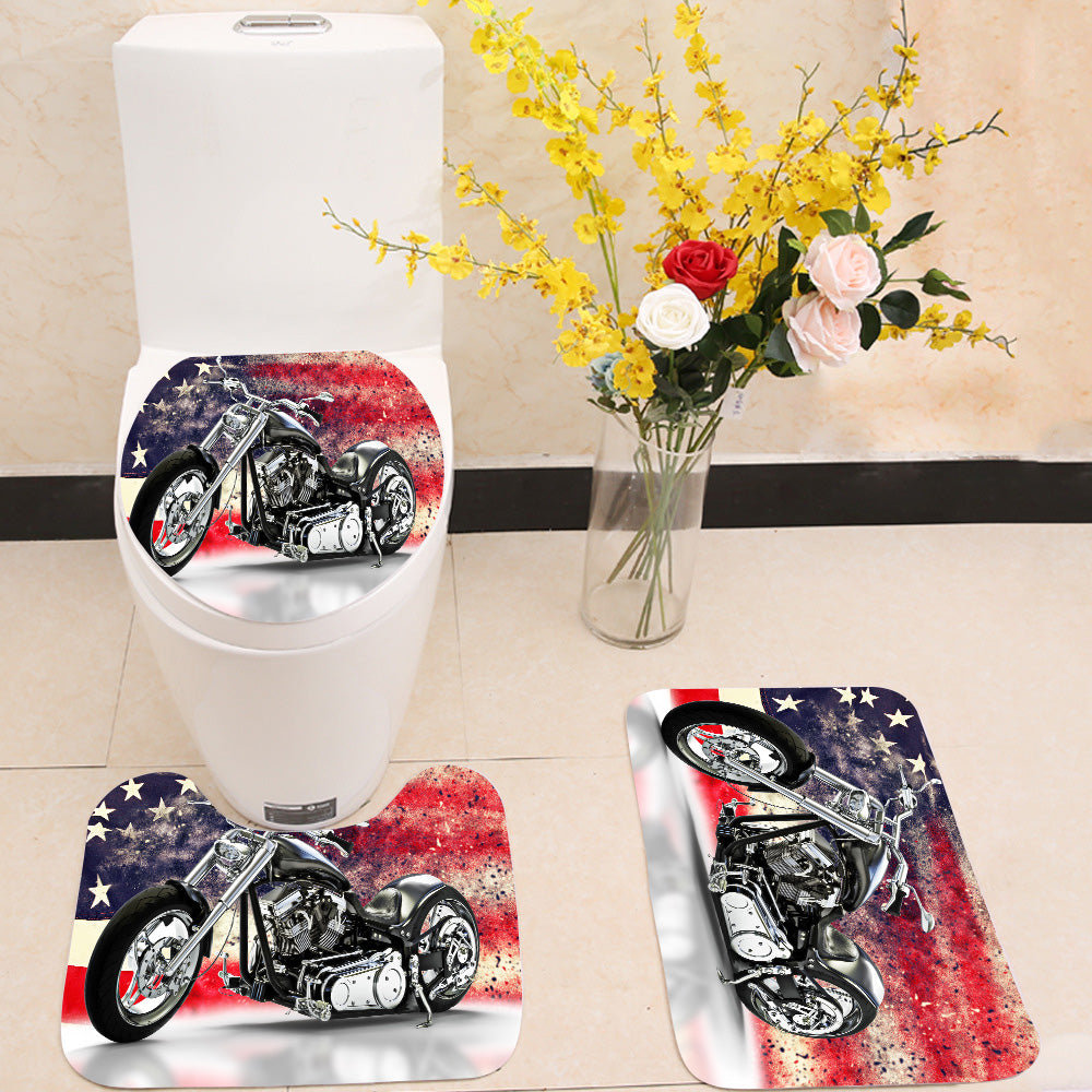 American motorcycle 3 Piece Toilet Cover Set
