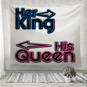 Her King His Queen Couple Wall Tapestry