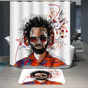 Man listening to music Shower Curtain