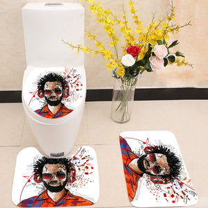 Man listening to music 3 Piece Toilet Cover Set
