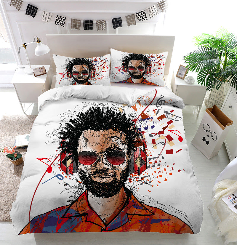 Man listening to music Duvet Cover Bedding Set