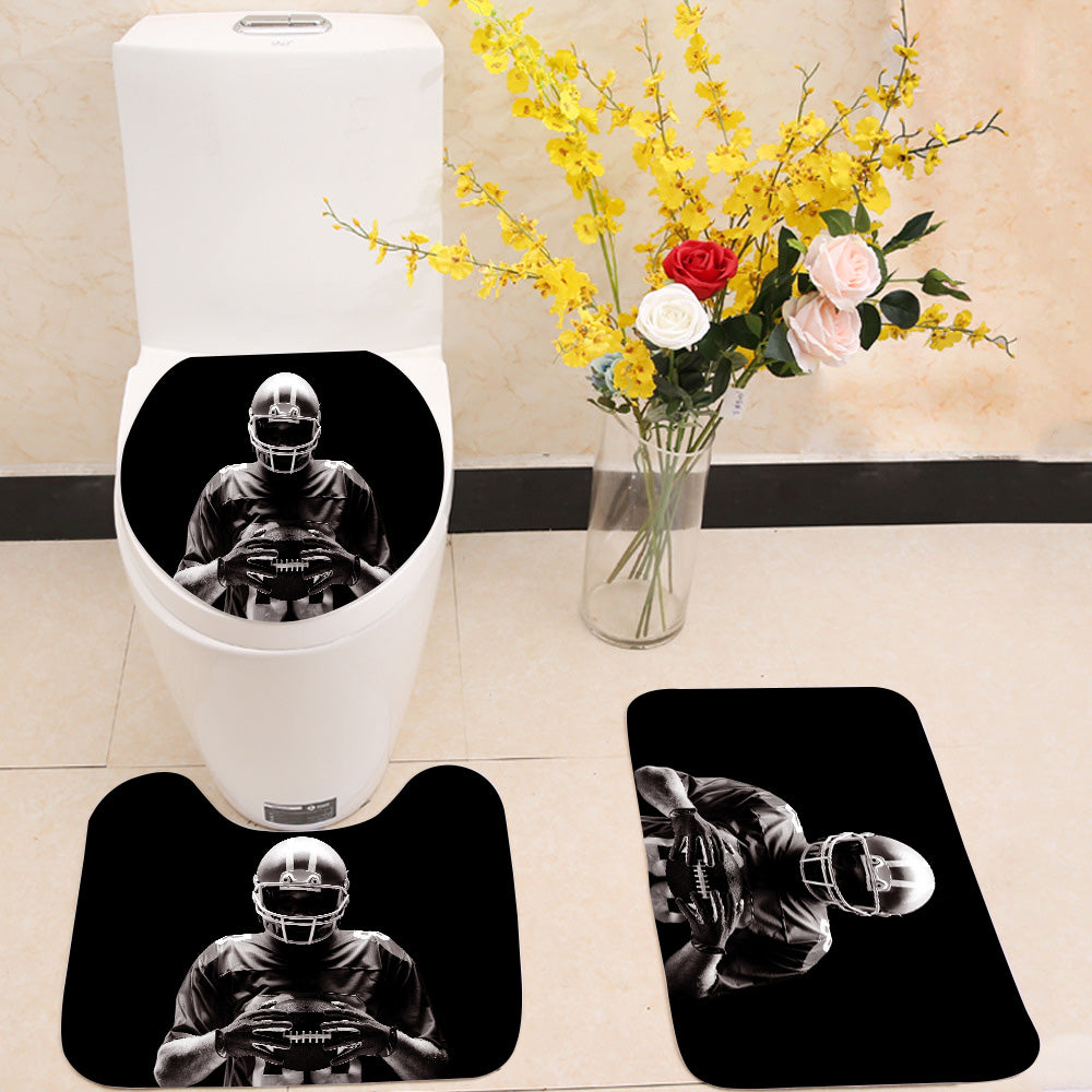 American football player 3 Piece Toilet Cover Set