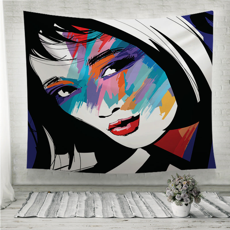 Woman face colorful Wall Tapestry