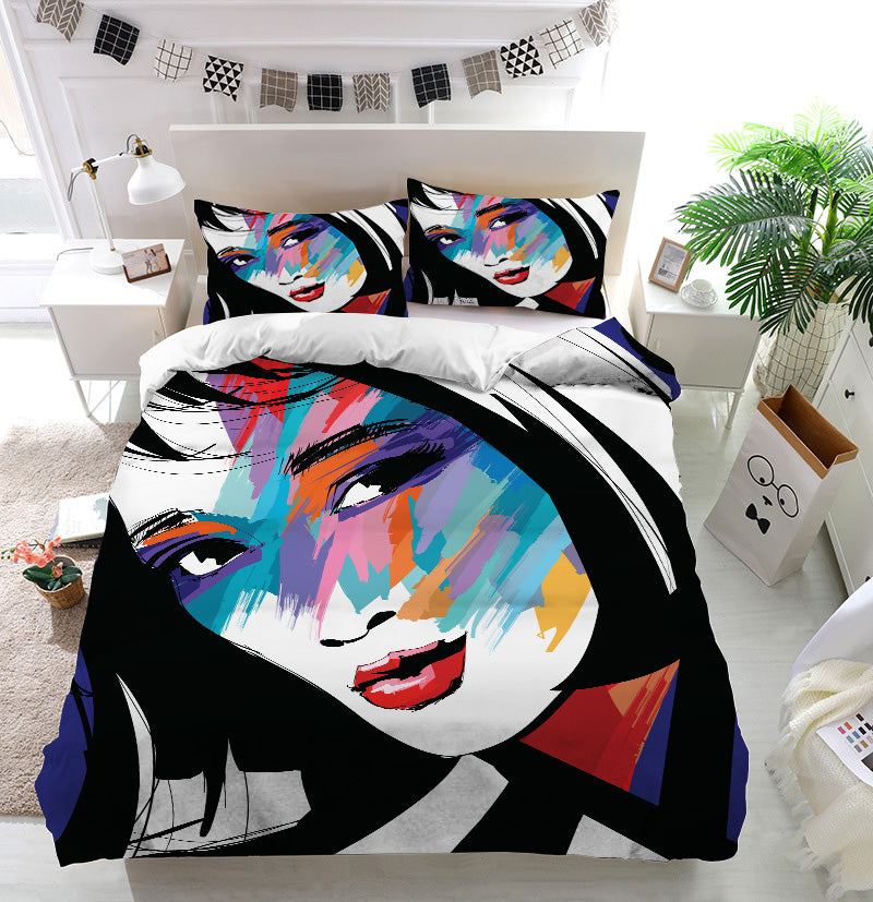 Woman face colorful Duvet Cover Bedding Set