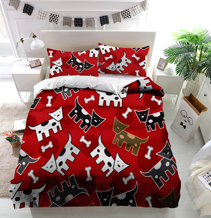 Spotted doggies pattern Duvet Cover Bedding Set