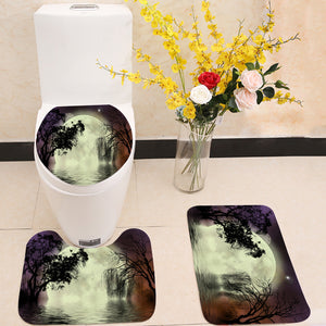 Moon fairy background 3 Piece Toilet Cover Set