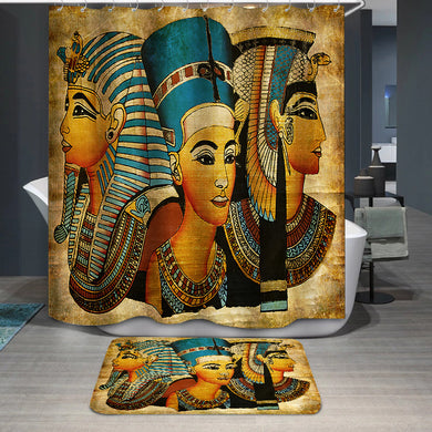 Old Egyptian papyrus pharaoh and queen Shower Curtain