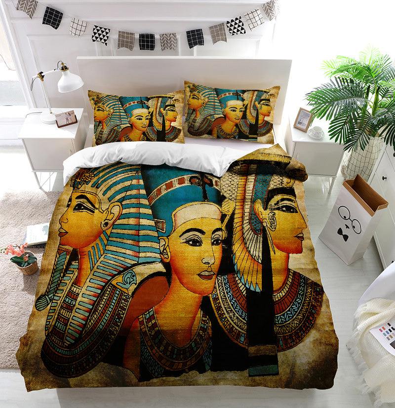 Old Egyptian papyrus pharaoh and queen Duvet Cover Bedding Set