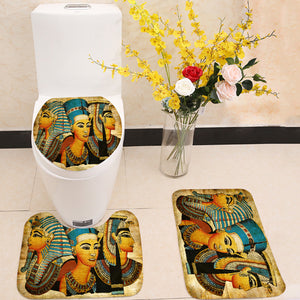 Old Egyptian papyrus pharaoh and queen 3 Piece Toilet Cover Set