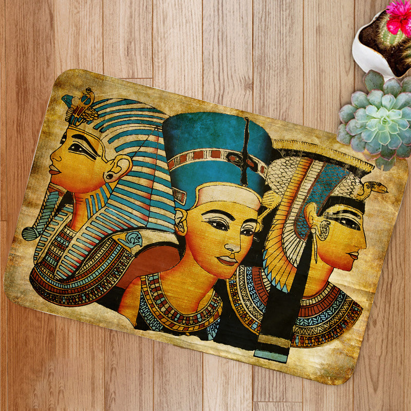 Old Egyptian papyrus pharaoh and queen Bath Mat