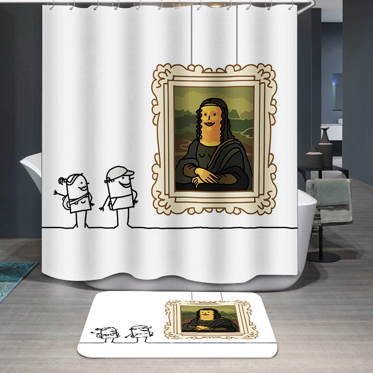 Mona Lisa cartoon Shower Curtain