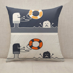 Rescue cartoon Throw Pillow [With Inserts]
