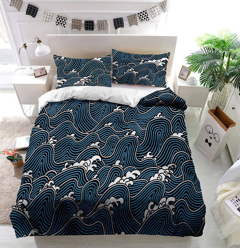 Ethnic Japan motif water Duvet Cover Bedding Set