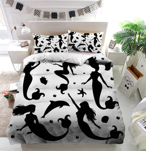 silhouettes of mermaids Duvet Cover Bedding Set
