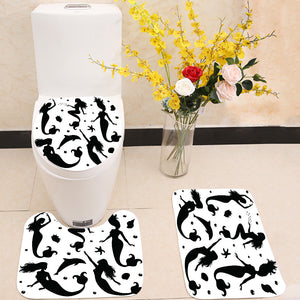 silhouettes of mermaids 3 Piece Toilet Cover Set