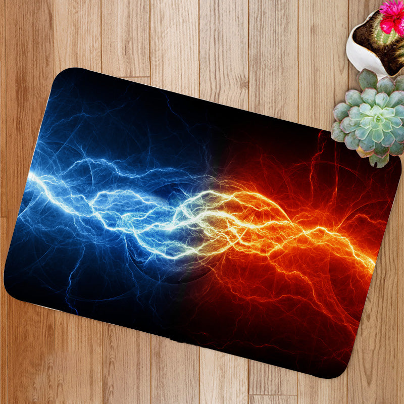 Fire and ice lightning Bath Mat