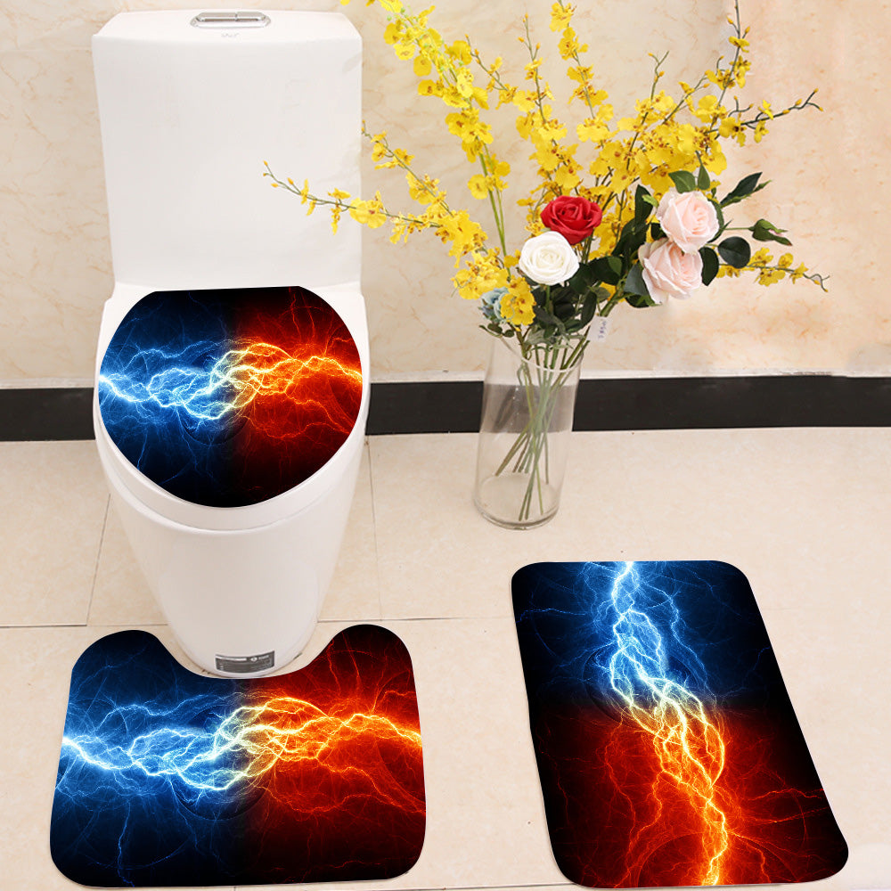 Fire and ice lightning 3 Piece Toilet Cover Set