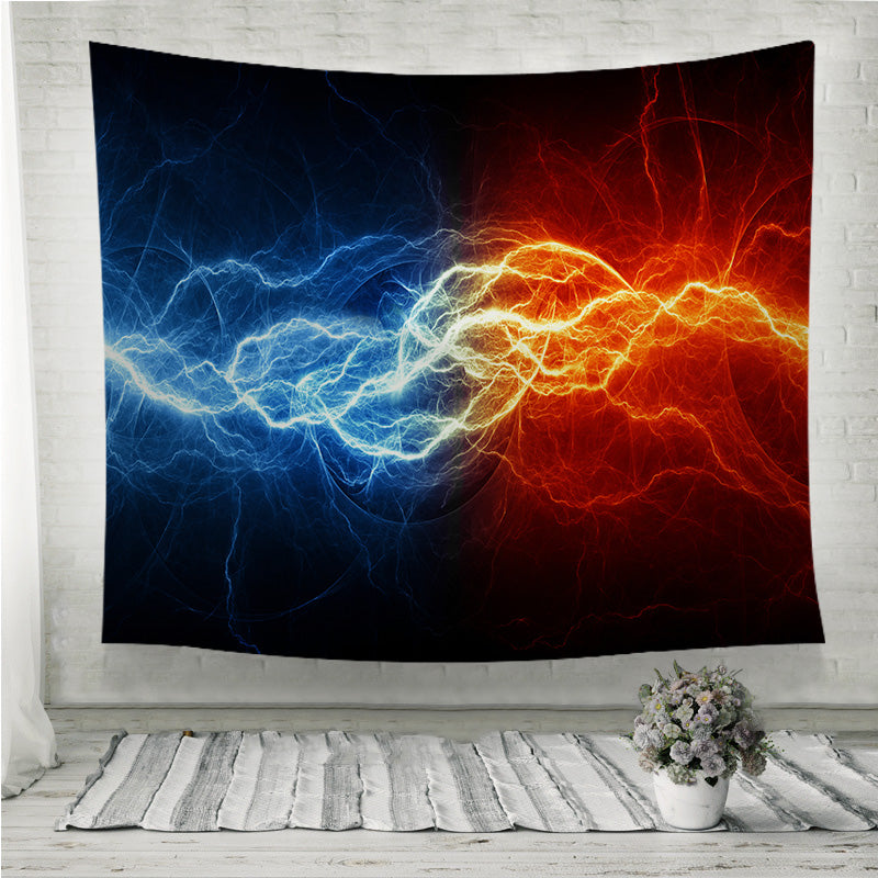 Fire and ice lightning Wall Tapestry