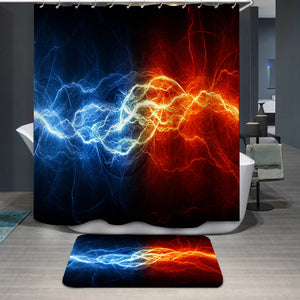 Fire and ice lightning Shower Curtain