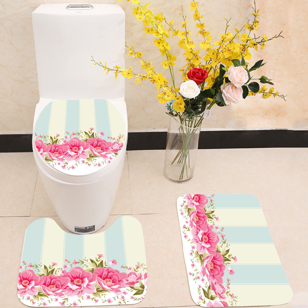 Ornate pink flower 3 Piece Toilet Cover Set