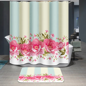 Ornate pink flower Shower Curtain