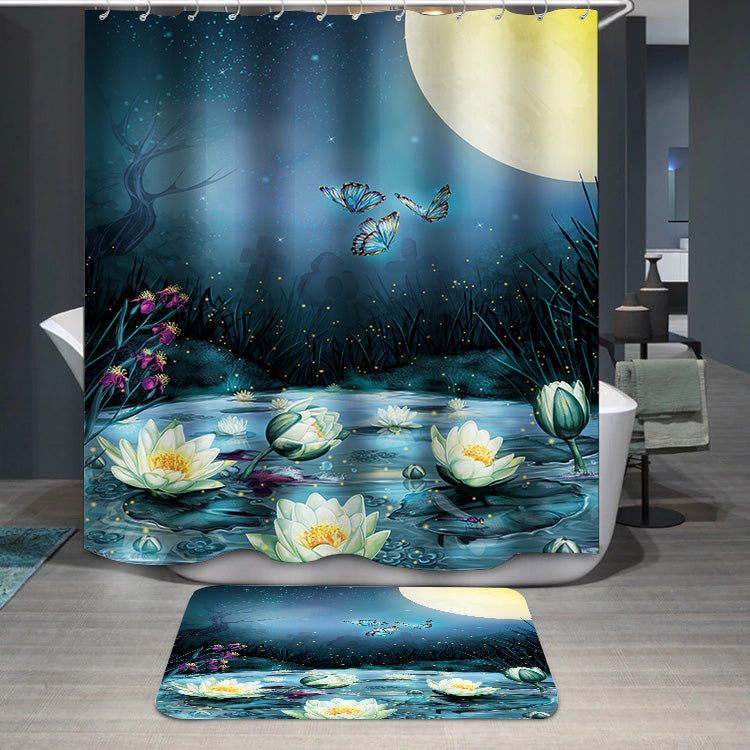 Starry Night in the swamp Shower Curtain