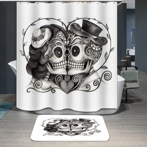 Skull couple wedding day Shower Curtain
