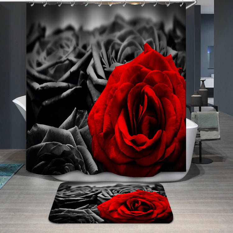 Red rose black roses Shower Curtain