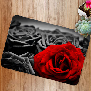 Red rose black roses Bath Mat