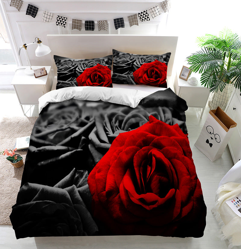 Red rose black roses Duvet Cover Bedding Set
