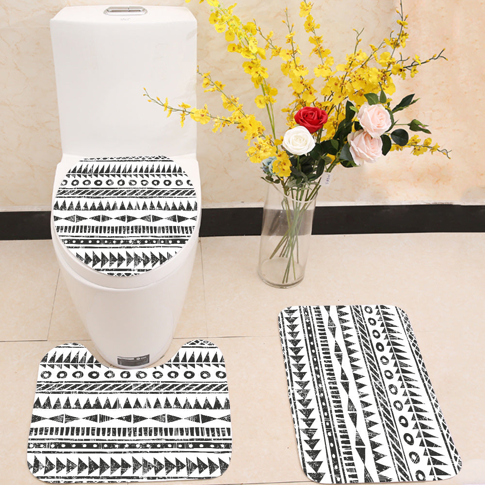 Black and white tribal pattern 3 Piece Toilet Cover Set