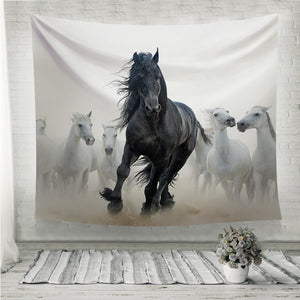 Black frisian stallion Wall Tapestry
