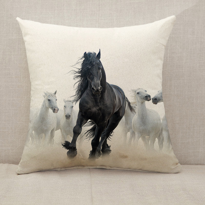 Black frisian stallion Throw Pillow [With Inserts]