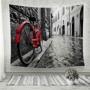 Retro vintage red bike Wall Tapestry