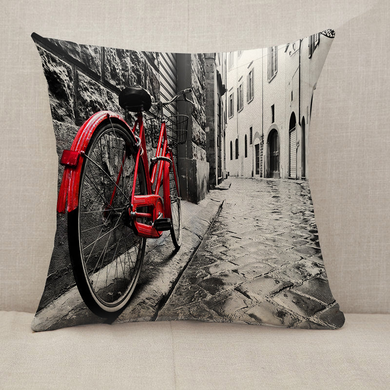 Retro vintage red bike Throw Pillow [With Inserts]