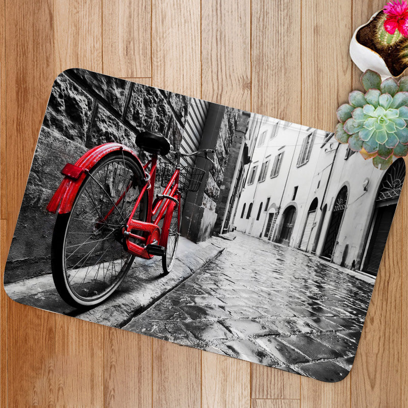 Retro vintage red bike Bath Mat