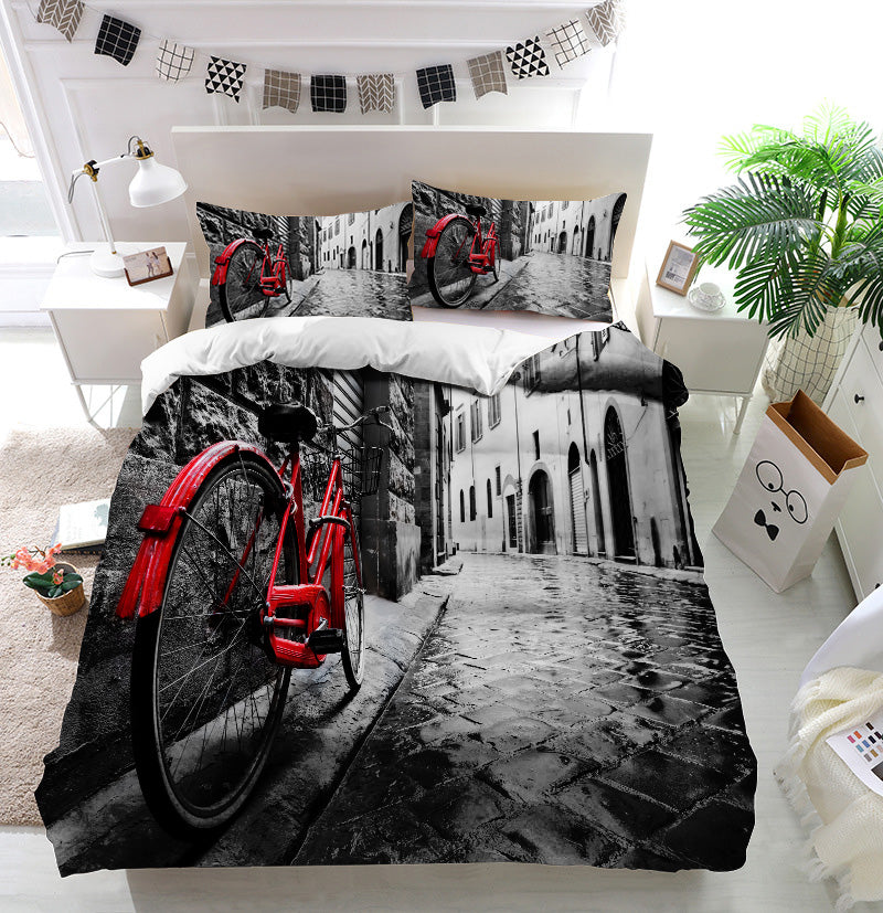 Retro vintage red bike Duvet Cover Bedding Set