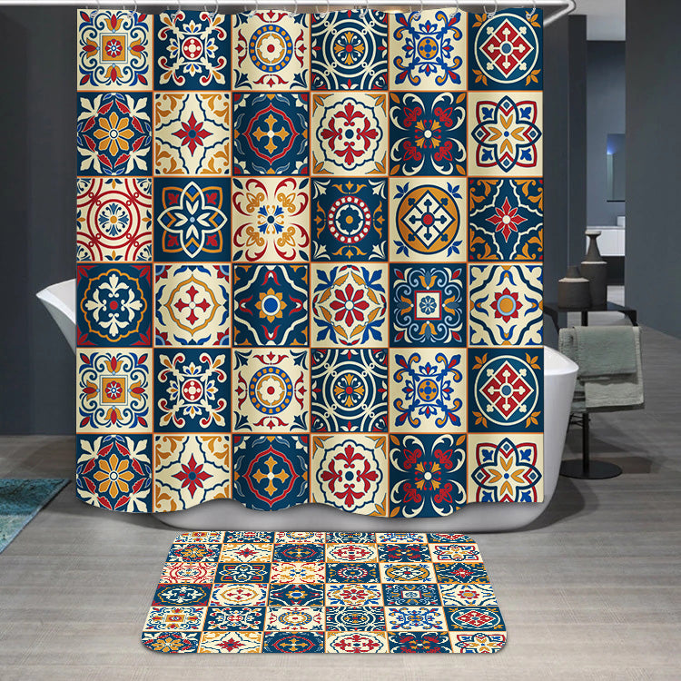 Moroccan Portuguese tiles pattern Shower Curtain