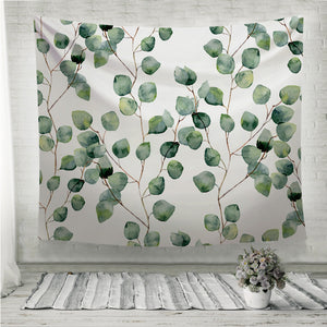 Watercolor green leaves Wall Tapestry