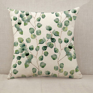 Watercolor green leaves Throw Pillow [With Inserts]