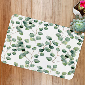 Watercolor green leaves Bath Mat