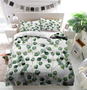 Watercolor green leaves Duvet Cover Bedding Set