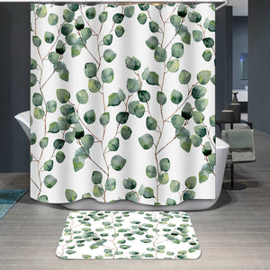 Watercolor green leaves Shower Curtain