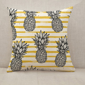 Pineapple with striped background Throw Pillow [With Inserts]